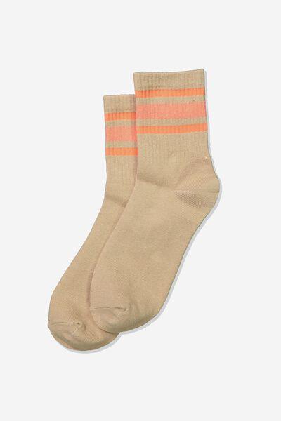 Wide Stripe Sporty Crew Socks, SAHARA PINK