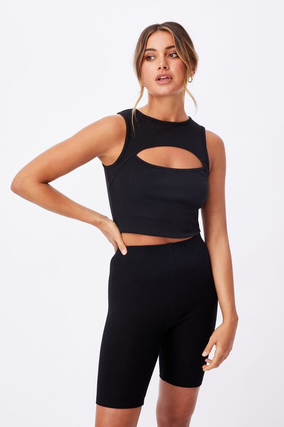 Romina Cut Out Crop Tank, BLACK