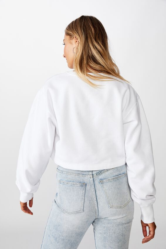 River Long Sleeve Crop Sweat, WHITE