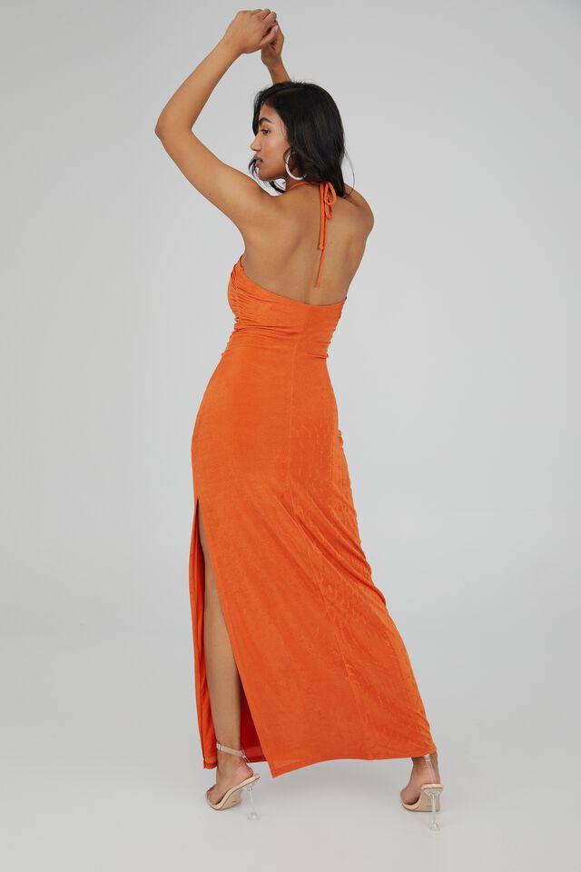 Serena Halter Neck Ruched Formal Dress, DEEP ORANGE