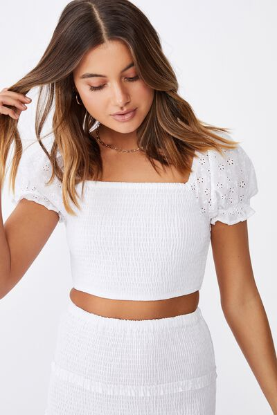 Tiffany Shirred Puff Sleeve Top, WHITE