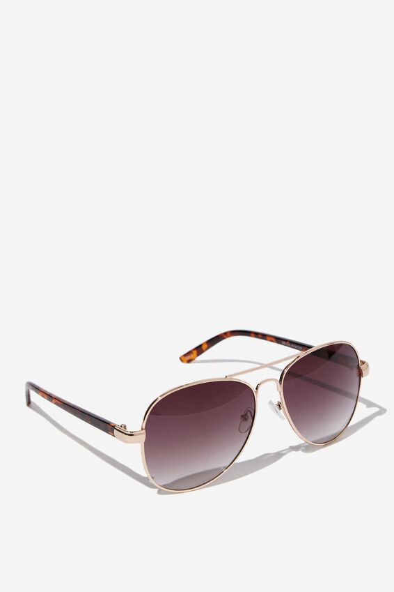 Bella Aviator Sunglasses, GOLD/SMOKE
