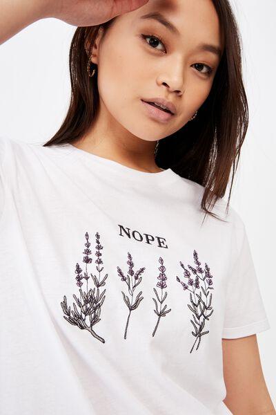 Lola Printed Longline Tee, WHITE/NOPE FLOWERS