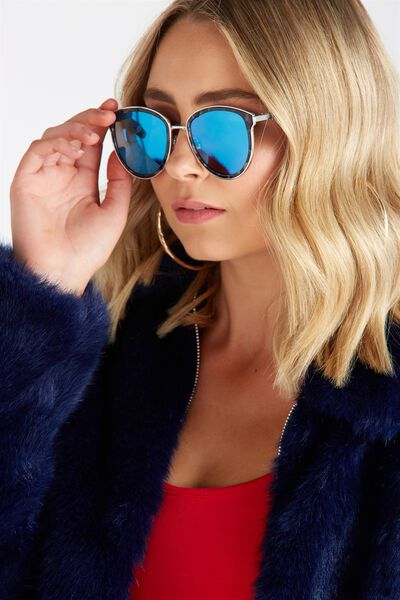 Trixie Metal Trim Sunglasses, GREY TORT SILVER