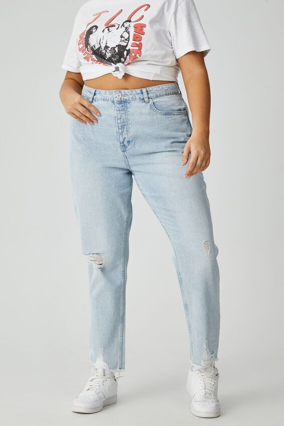 Mom Ripped Jean, GYPSY BLUE FADE RIPPED