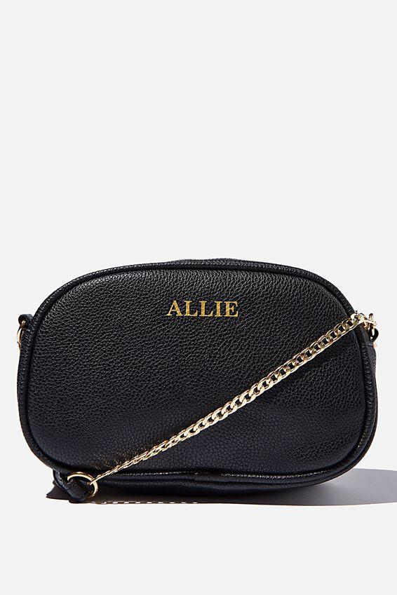 Personalised Josie Cross Body Bag, BLACK PEBBLE