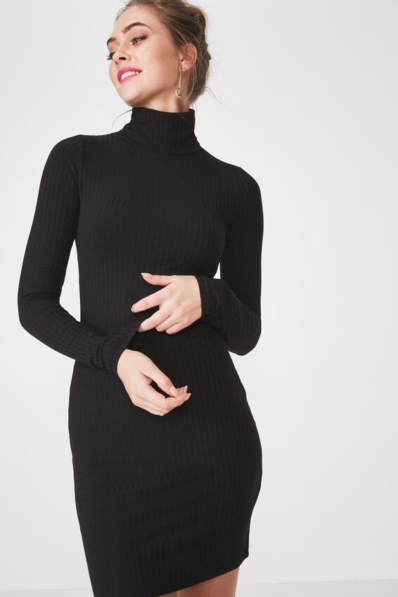 Kylie Roll Neck Rib Dress, BLACK