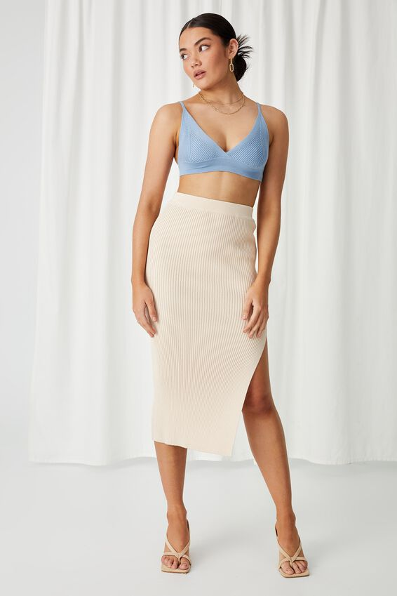 Angelina Tri Knit Bralette Top, EURO BLUE