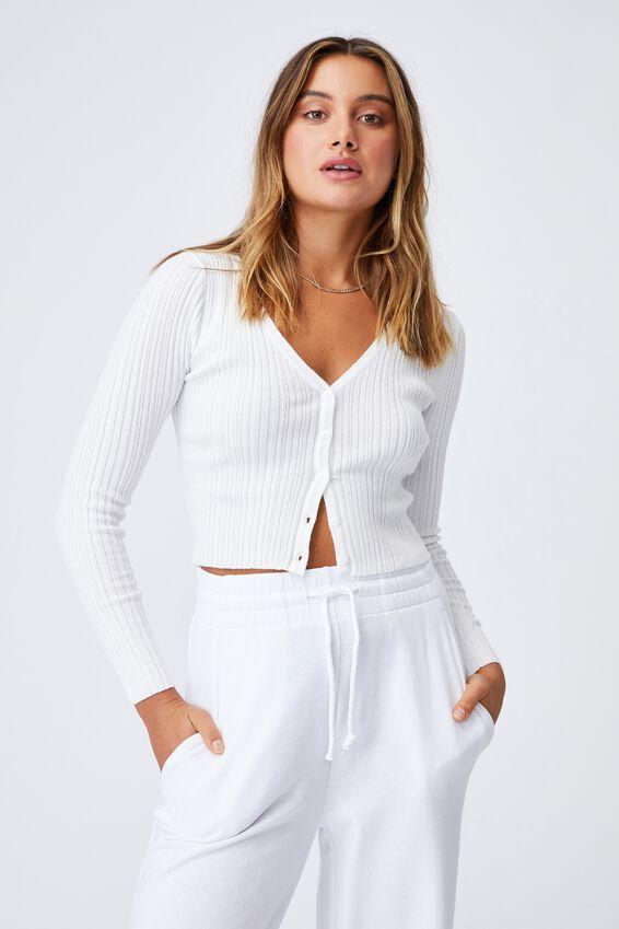 Olivia Button Through Long Sleeve Top, WHITE