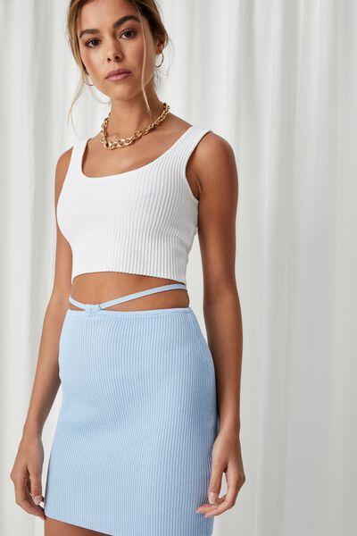 Yasmina Knit Cut Out Skirt, BLUEBELL