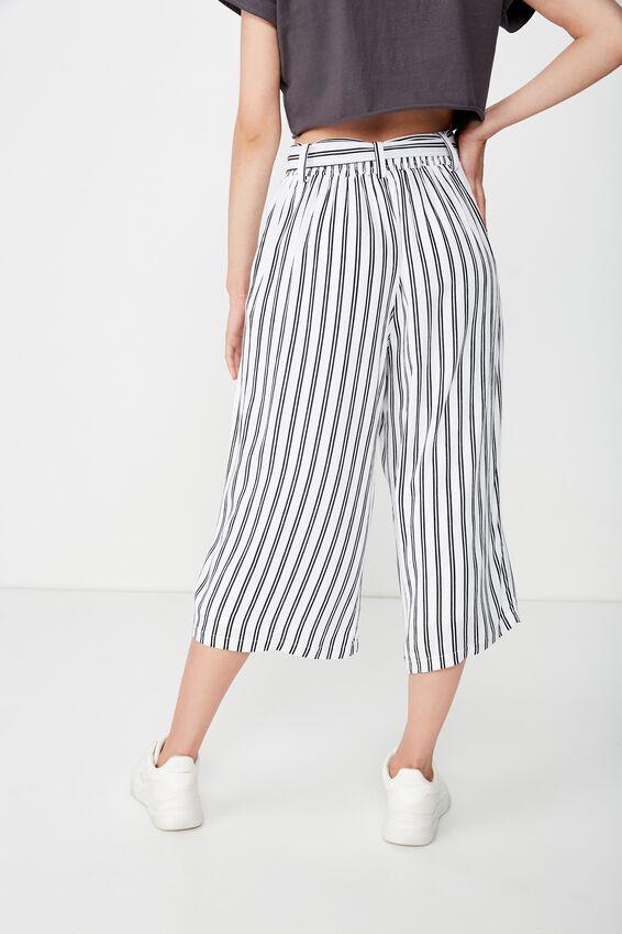 Ruby Crop Tie Waist Pant, BLACK & WHITE STRIPE