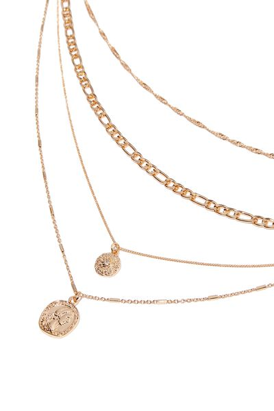 Layered Necklaces, COIN/GOLD