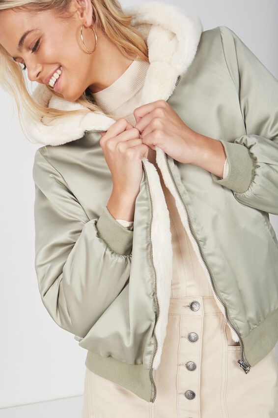 Reversible Bomber Jacket, SAGE/CREAM
