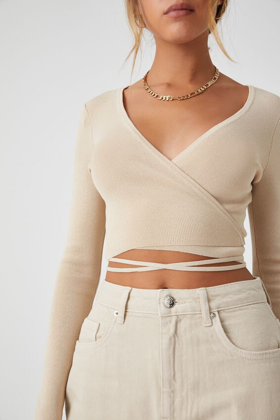 Davina Wrap Knit Top, ALMOND