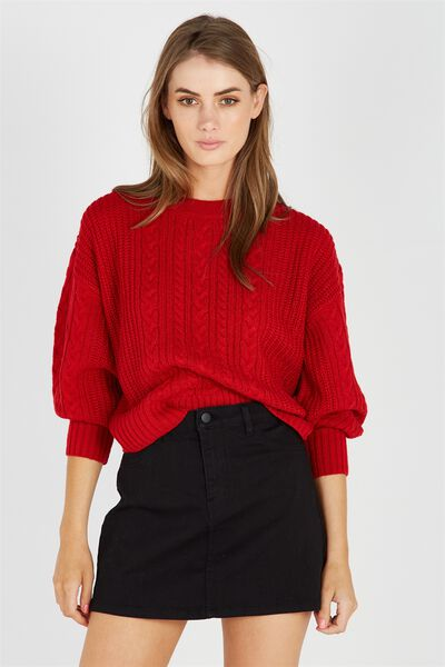 Ivy Bell Sleeve Knit Jumper, RED