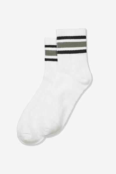 Wide Stripe Sporty Crew Socks, KHAKI