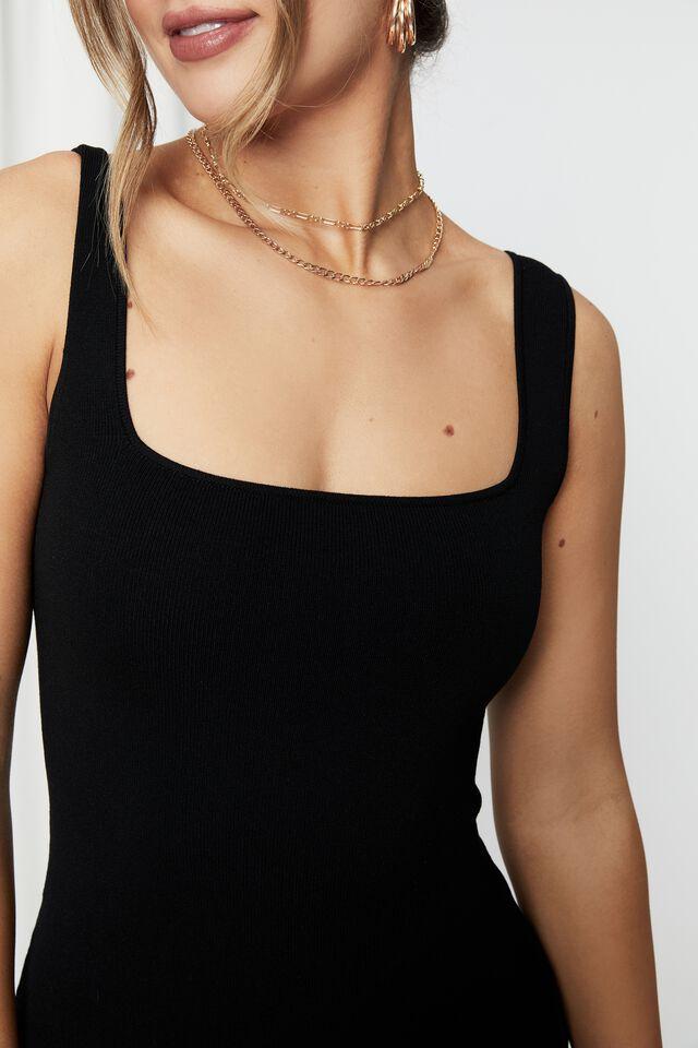 Chicago Square Neck Knit Mini Dress, BLACK