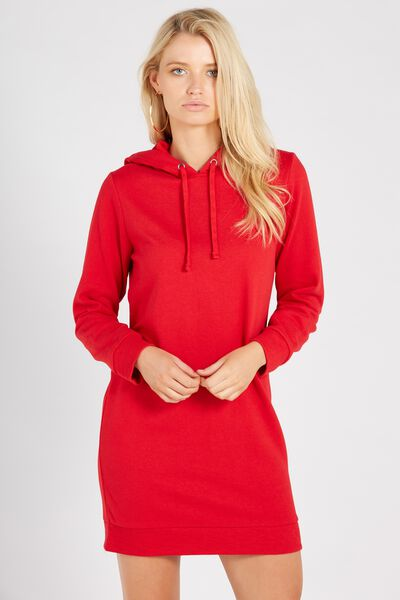 Hooded Sweat Dress, RED