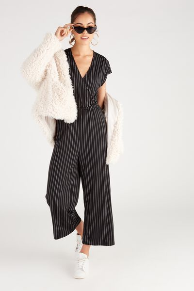 Short Sleeve Wrap Jumpsuit, PIN STRIPE/BLACK