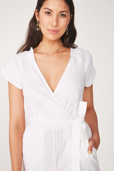 Wrap Jumpsuit, WHITE