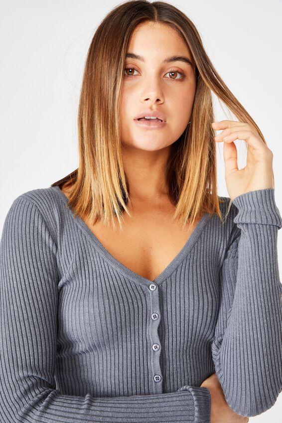 Olive Long Sleeve V Neck Cardigan Knit, CEMENT GREY