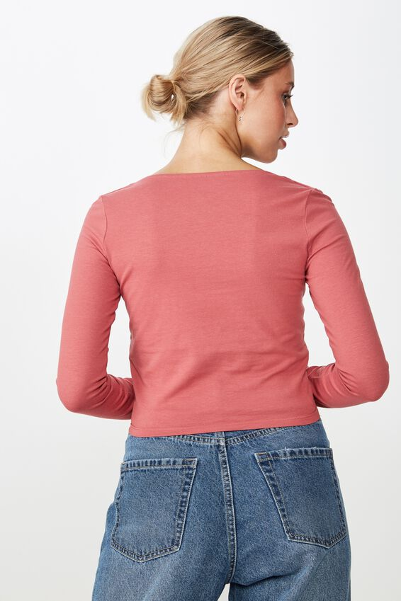 Long Sleeve V Neck Crop Top, LIPSTICK PINK