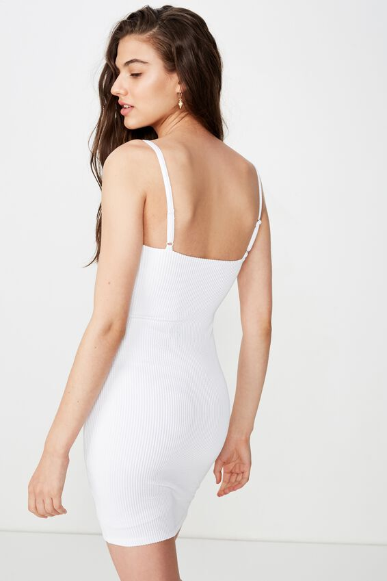 Cameron Rib Mini Dress, WHITE