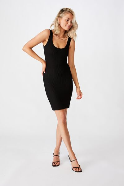 Maggie Square Neck Knit Dress, BLACK