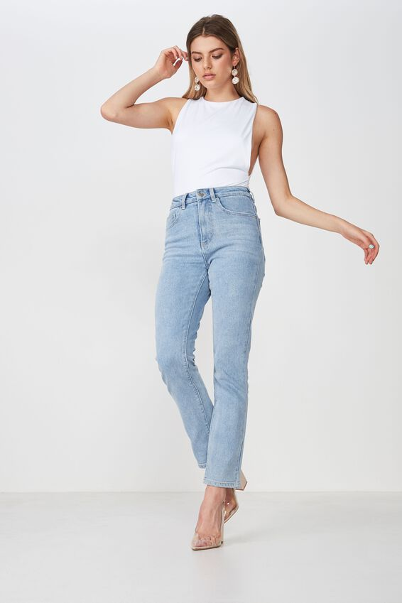 Straight Denim Jean, LIGHT BLUE WASH