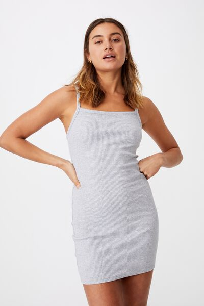 Emery Rib Mini Dress, GREY MARLE
