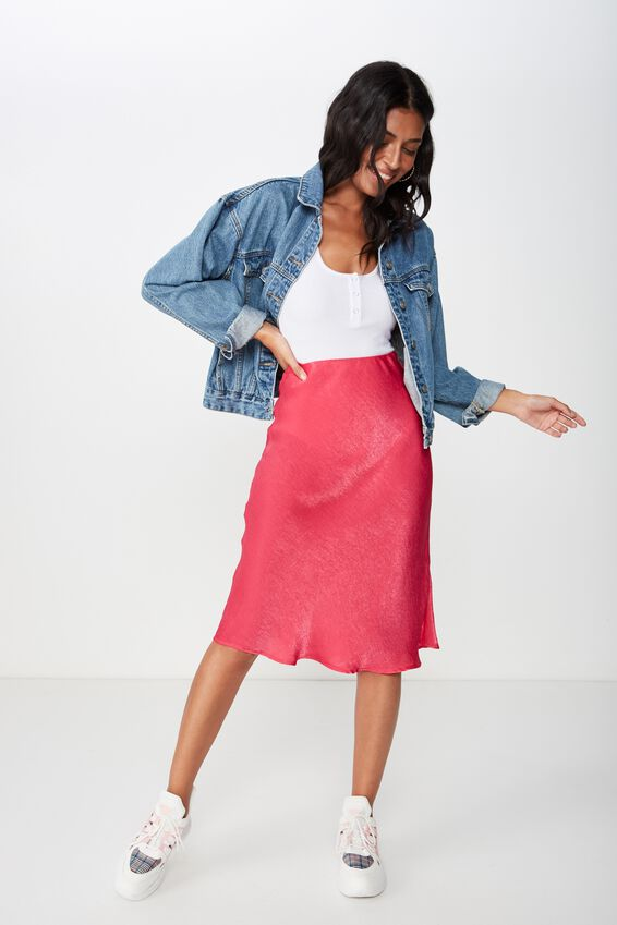 Satin Midi Skirt, HOT PINK