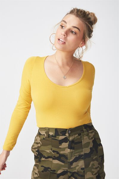 Basic Long Sleeve Longline Deep V Neck Top, MUSTARD