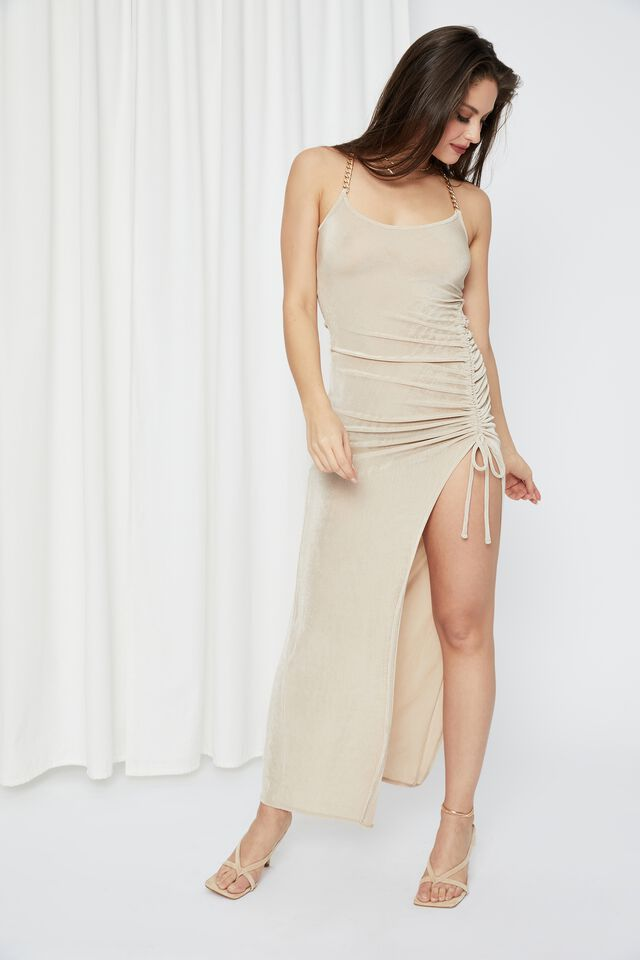 Ruched Chain Long Formal Dress, BEIGE BUFF