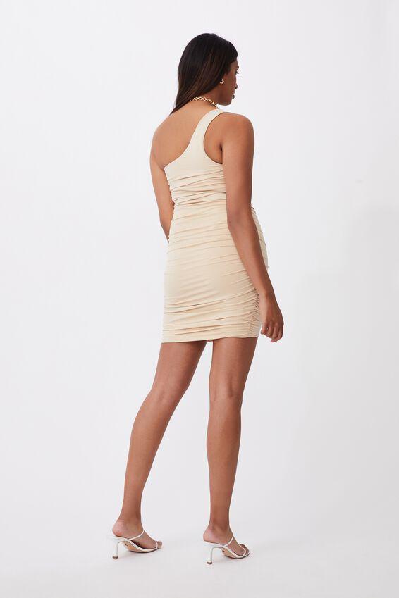 Alora One-Shoulder Ruched Mini Dress, FRAPPE