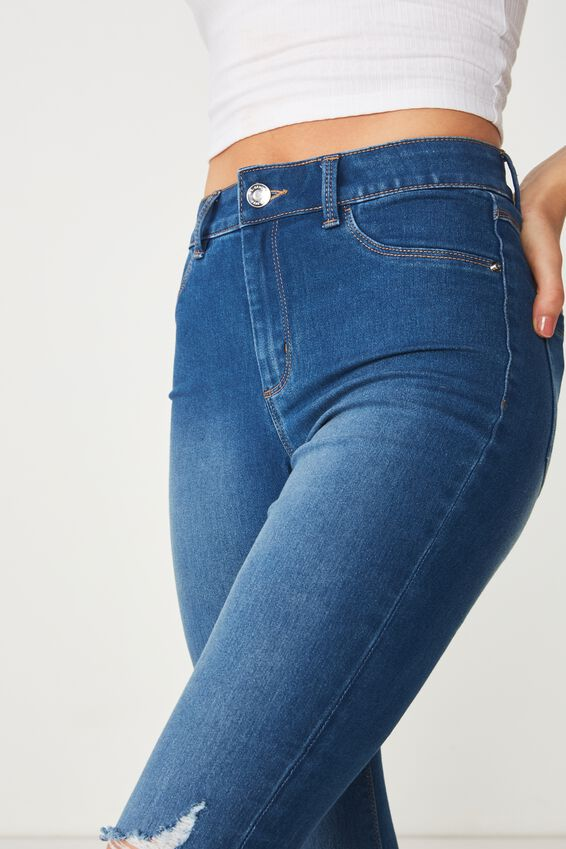 Long Super Skinny Ripped Jean, REBEL BLUE