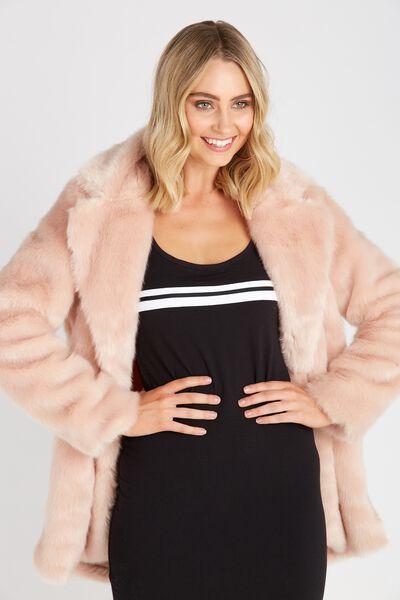 Faux Fur Coat, BLUSH
