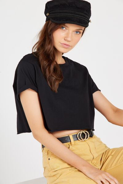 Super Crop Tee, BLACK