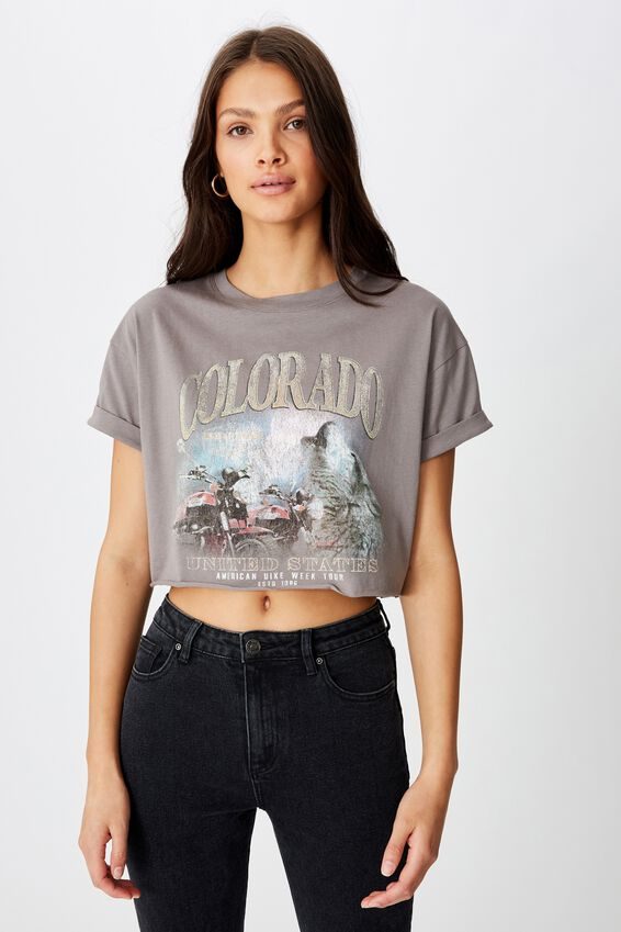 Tamara Graphic Crop Tee, CEMENT GREY COLORADO WOLF