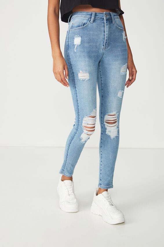 Skinny Premium High Rise Ripped Jean, VINTAGE BLUE