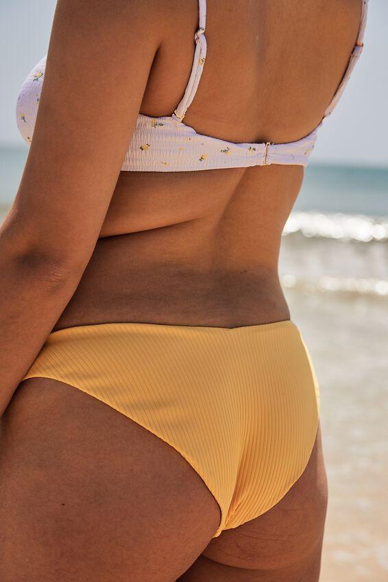 Byron V Front Bikini Bottom, POPPY YELLOW RIB