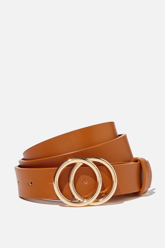 Double Hoop Belt, TAN GOLD