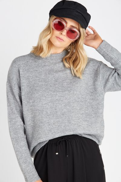 Courtney Cosy Knit Top, COSY MID GREY
