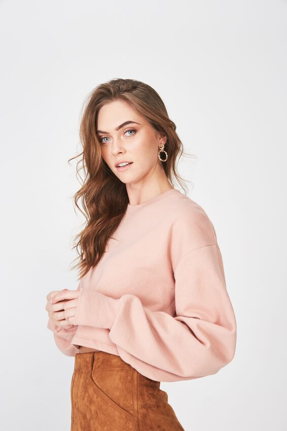 Kayla Long Sleeve Crop Sweat, VINTAGE PINK