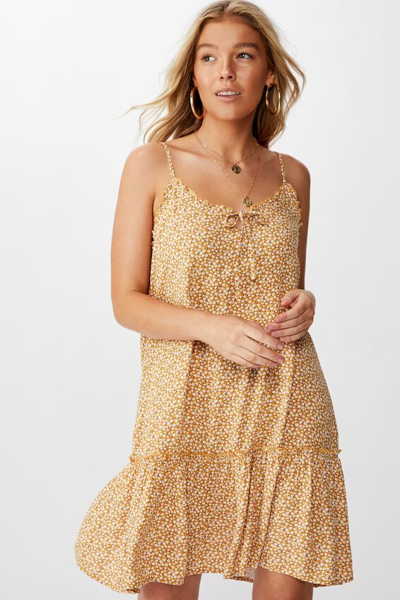 Olivia Tiered Frill Hem Dress, PEONY DITSY MUSTARD