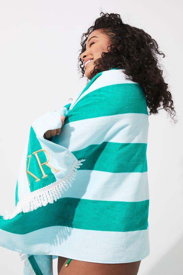 Personalised Beach Towel, EMERALD/MINT STRIPE