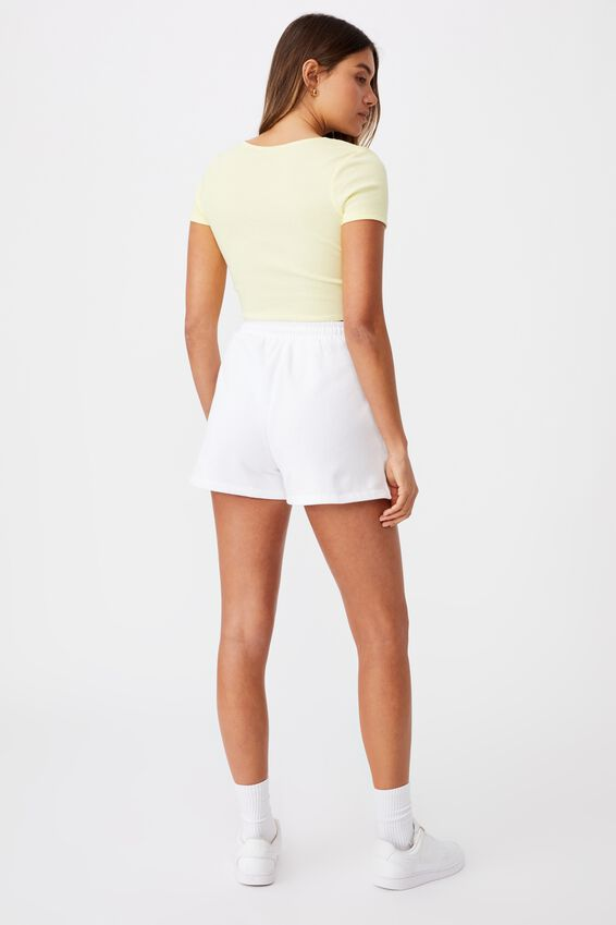 Cynthia Twist Front Short Sleeve Top, MELLOW YELLOW