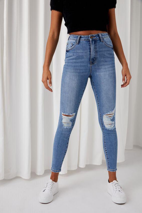 The Skinny Premium Ripped Jean, DUSK BLUE KNEE RIP