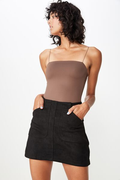 Faux Suede Patch Pocket Skirt, BLACK