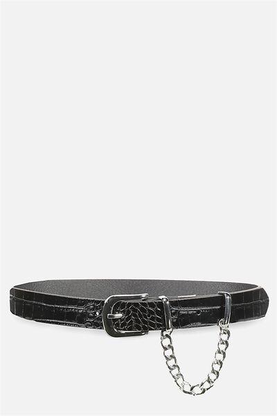 Textured Chain Belt, BLACK/SILVER