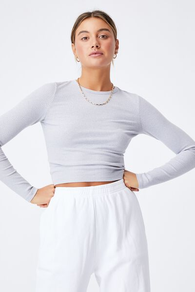 Aspen Long Sleeve Rib Top, GREY MARLE